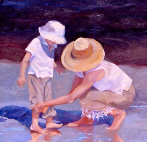 Mother and Son an OIl Painting by Cathryn Hatfield