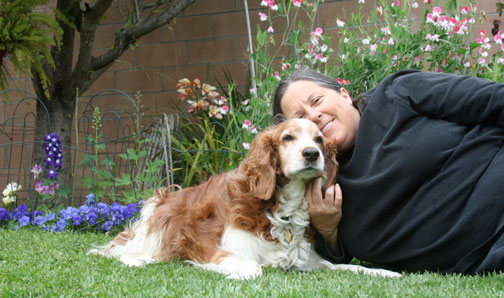 Cathy Hatfield with Winslow in Garden
