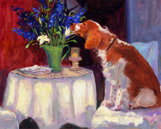 Painting of Winslow Smelling the Flowers